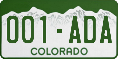 CO license plate 001ADA