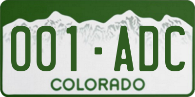 CO license plate 001ADC