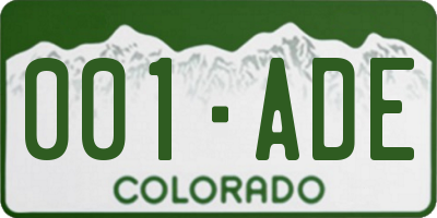 CO license plate 001ADE