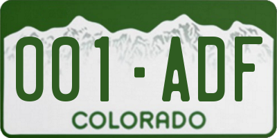 CO license plate 001ADF