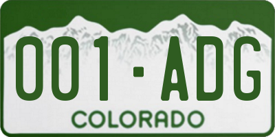 CO license plate 001ADG