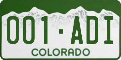 CO license plate 001ADI