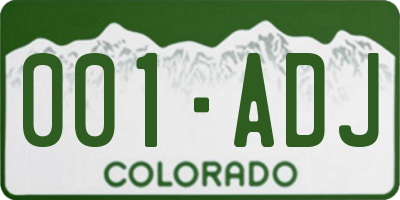 CO license plate 001ADJ