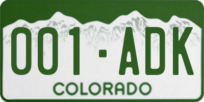 CO license plate 001ADK