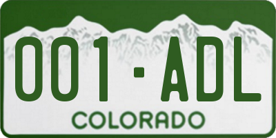 CO license plate 001ADL