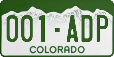 CO license plate 001ADP