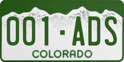 CO license plate 001ADS