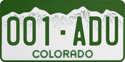 CO license plate 001ADU