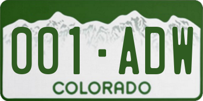 CO license plate 001ADW