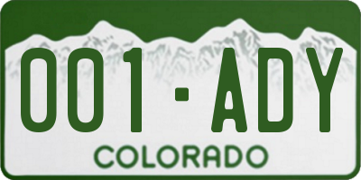 CO license plate 001ADY