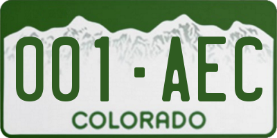 CO license plate 001AEC