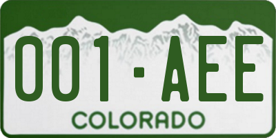 CO license plate 001AEE