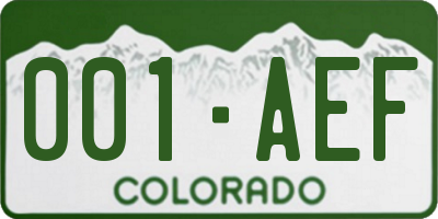 CO license plate 001AEF