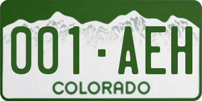 CO license plate 001AEH