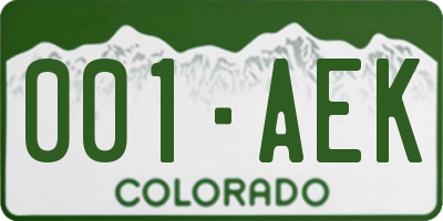 CO license plate 001AEK