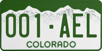 CO license plate 001AEL