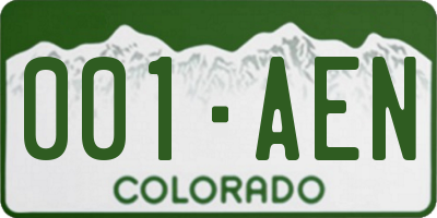 CO license plate 001AEN