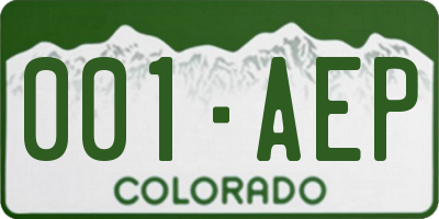 CO license plate 001AEP