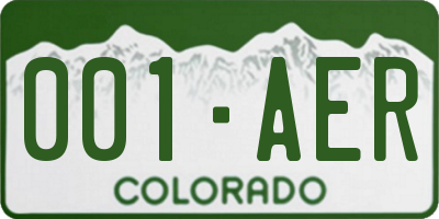 CO license plate 001AER