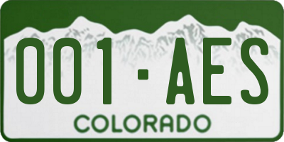 CO license plate 001AES