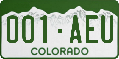 CO license plate 001AEU