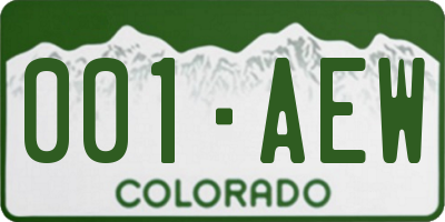 CO license plate 001AEW