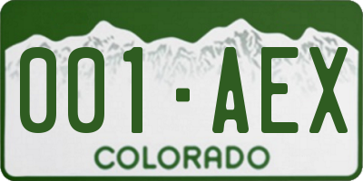 CO license plate 001AEX