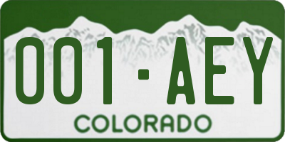 CO license plate 001AEY