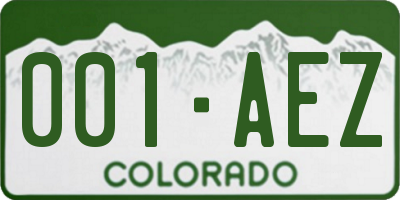 CO license plate 001AEZ