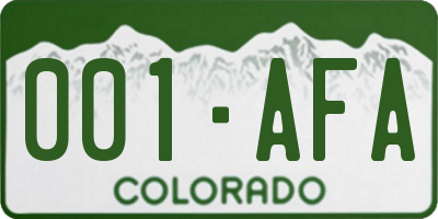 CO license plate 001AFA