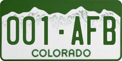 CO license plate 001AFB