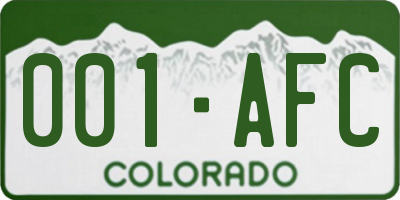 CO license plate 001AFC
