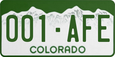 CO license plate 001AFE