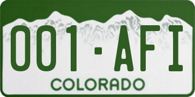 CO license plate 001AFI