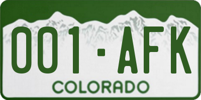 CO license plate 001AFK