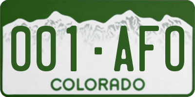 CO license plate 001AFO