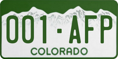 CO license plate 001AFP