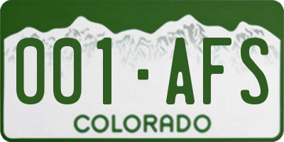 CO license plate 001AFS