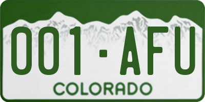 CO license plate 001AFU