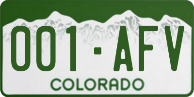 CO license plate 001AFV