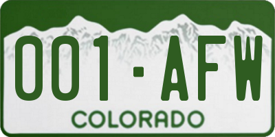 CO license plate 001AFW