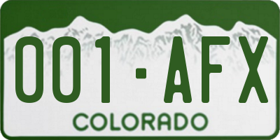 CO license plate 001AFX