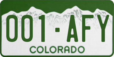 CO license plate 001AFY
