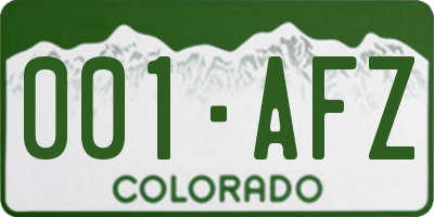CO license plate 001AFZ