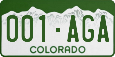 CO license plate 001AGA