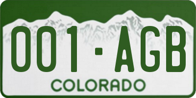 CO license plate 001AGB