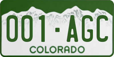 CO license plate 001AGC