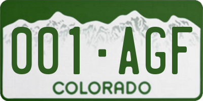 CO license plate 001AGF