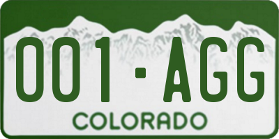 CO license plate 001AGG