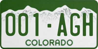 CO license plate 001AGH